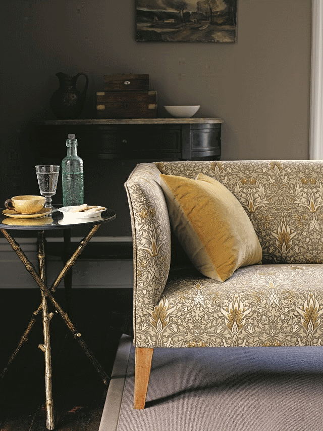 William Morris design. Interiors Fabrics curtains and soft furnishings by Room in Hay on Wye Herefordshire