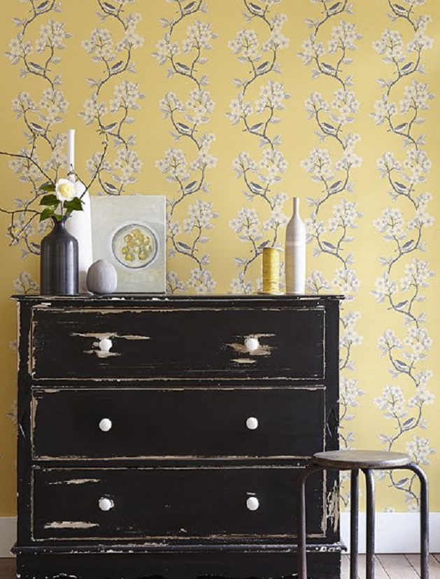 Vanessa Arbuthnott wallpaper. Interior decoration by Room in Hay on Wye Herefordshire